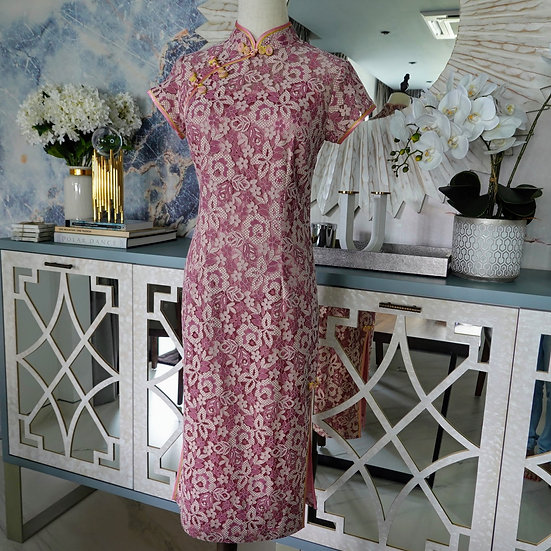Precious Rose Quartz Lace Cheongsam Dress