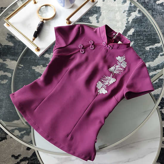 Wealth Azalea Plum Cheongsam Blouse