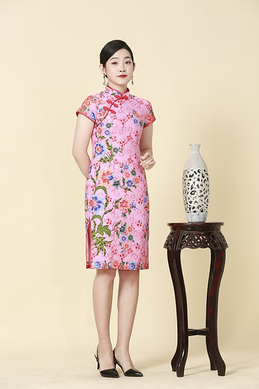 Blushing Blossoms Batik Cheongsam Dress