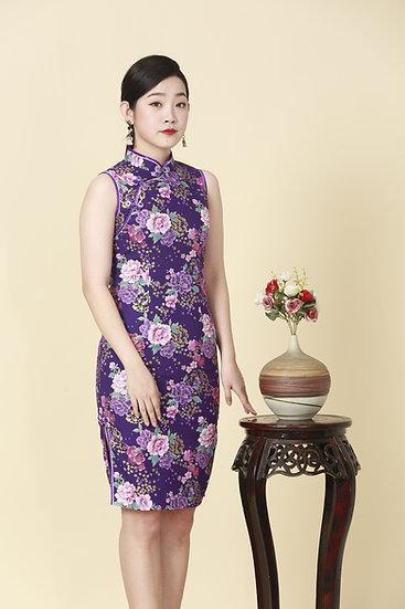 Peony Blooms Kimono Cheongsam Dress