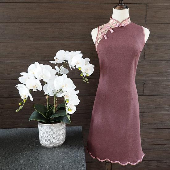 Longevity Pink Ume Hana Cheongsam Dress