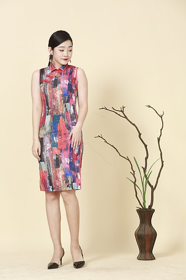 Niji Rainbow Kimono Cheongsam Dress