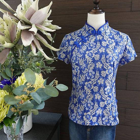 Azure Blue Gilt Floral Lace Cheongsam Blouse