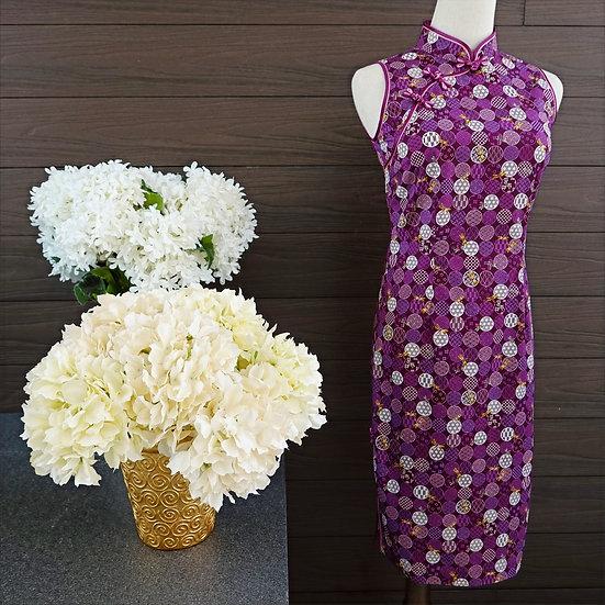 Rich Magenta Temari Cheongsam Dress
