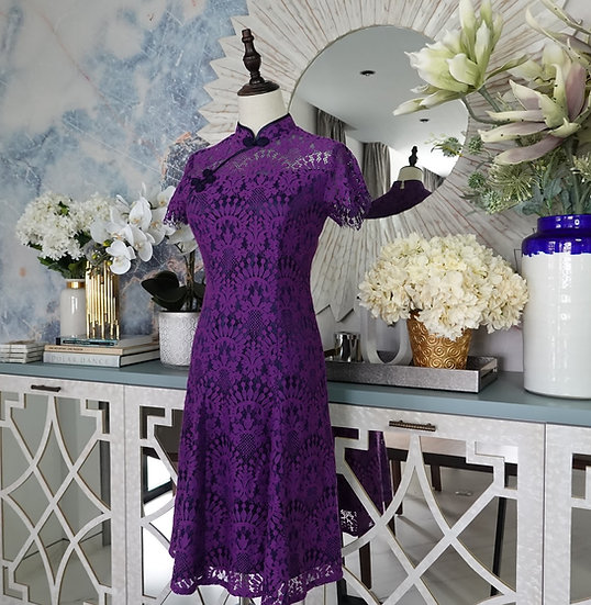 Brilliance Amethyst Baroque Lace Cheongsam Dress