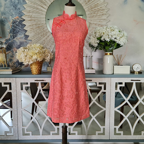 Tangerine Coral Chantilly Lace Cheongsam Dress