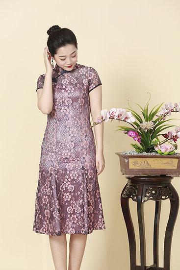 Pink Sapphire Chantilly Lace Cheongsam Dress