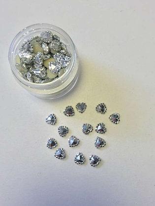 אבנים לקישוטי ציפורניים -לב כסף