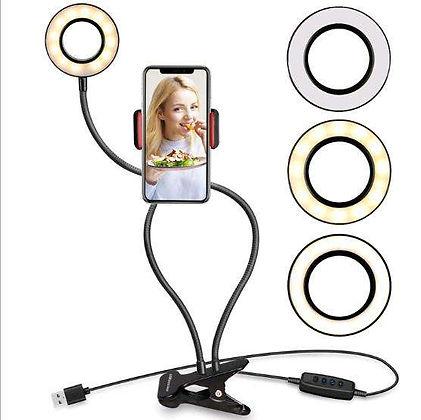 מנורת רינג עם קליפס שולחני לצילום