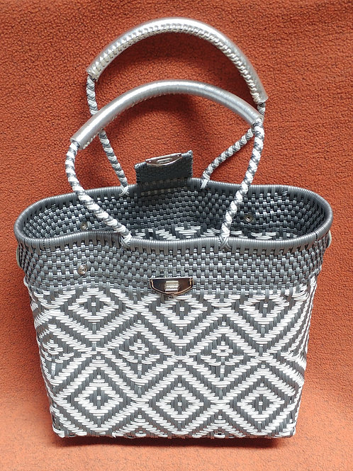 Woven plastic artisan bag - large