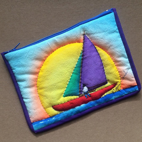 Sailboat cosmetic / pencil bag