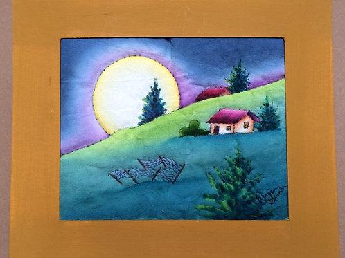 Moon landscape painting