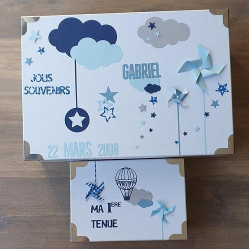 Pandore naissance thème nuage et moulin à vent bleu