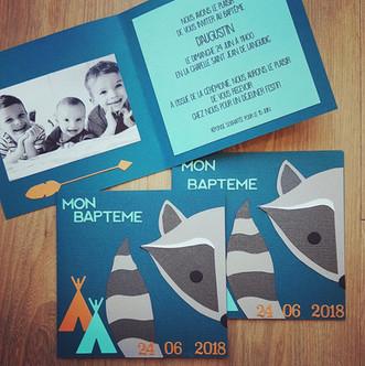 Invitation baptême raton laveur
