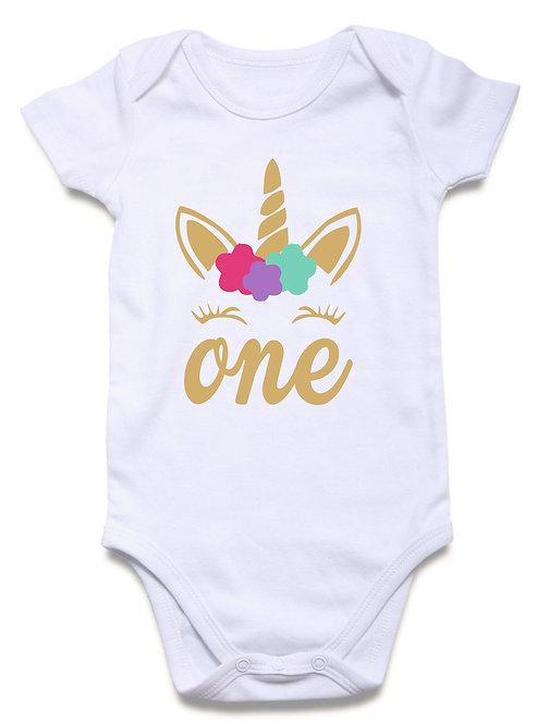 Baby 1st. Birthday Unicorn Onesie