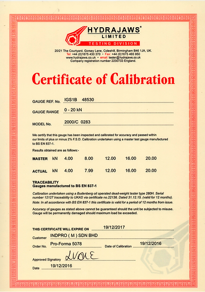 HYDRAJAWS® Certificado de Calibración