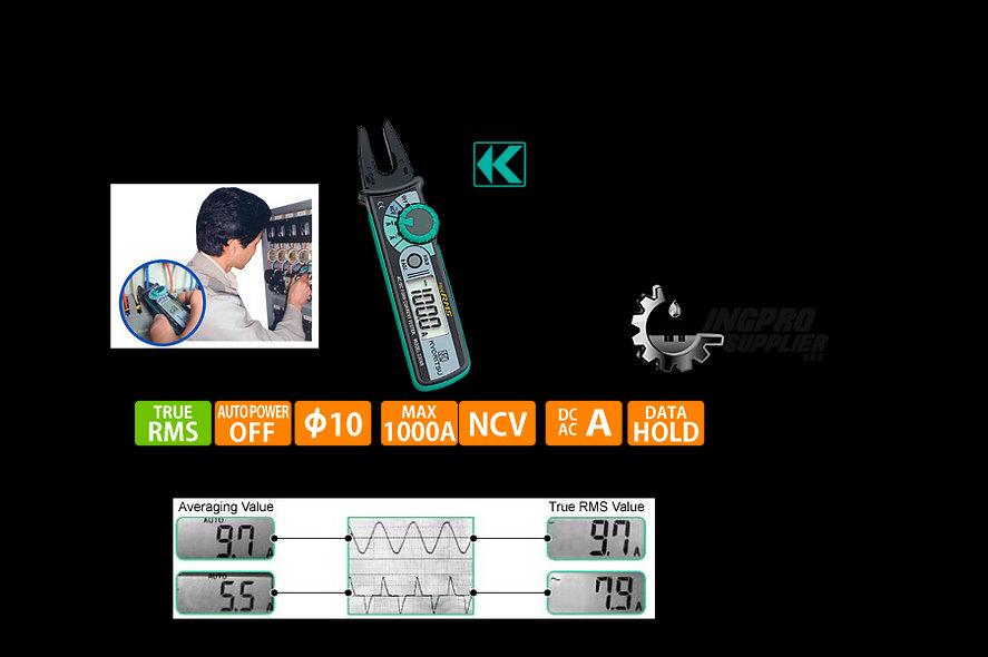 KYORITSU® Mini Tenedor Voltiamperimetrico Digital RMS resolu. 0.1Amp. 100AC/DC