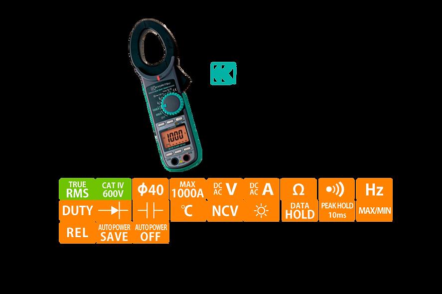 KYORITSU® Pinza Voltiamperimetrica  Digital RMS 1000AC/DC  600VAC/DC CAT IV-600V