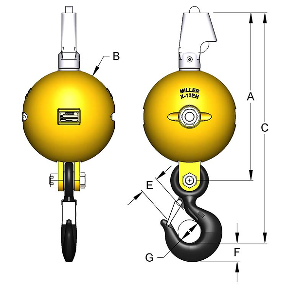Ganchos de Carga con Destorcedor Inferior 5 - 35 Toneladas