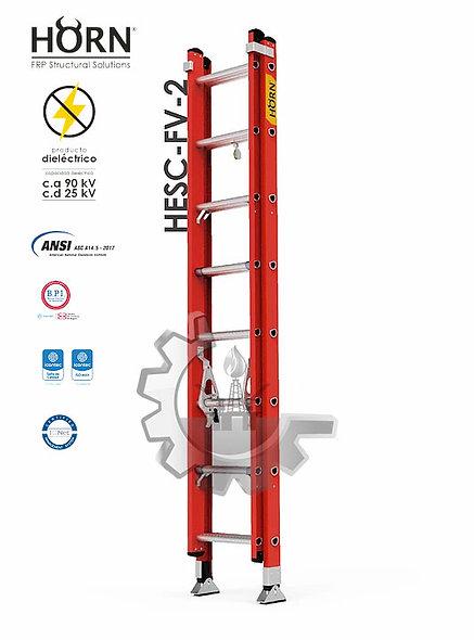 HORN® Escalera Extensión Doble de Plástico Reforzado con Fibra De Vidrio