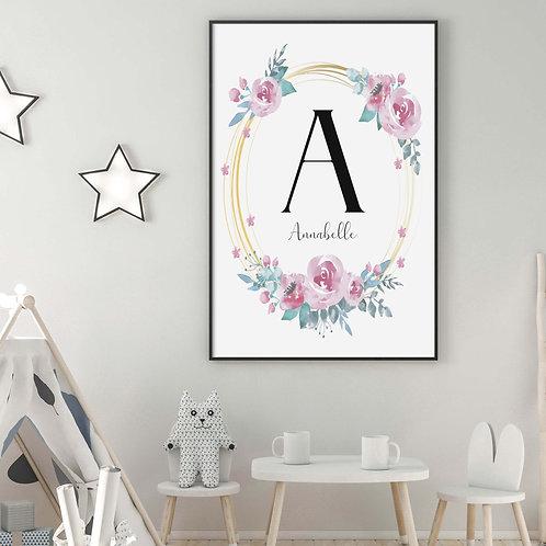 Initial Roses Girls Personalised Print
