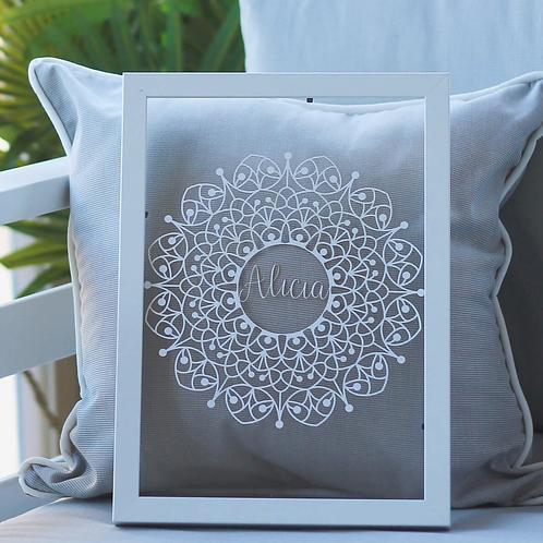 Name Mandala Personalised Papercut | Belle & Eve | Personalised Gifts