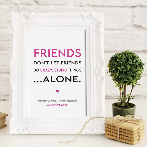 Fun Personalised Friend Gift in pink | Belle & Eve Gifts