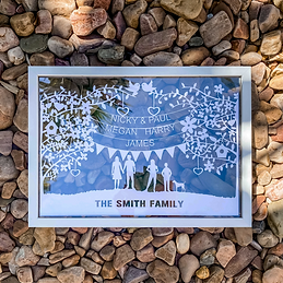 Personalised Family Gifts papercut on gr