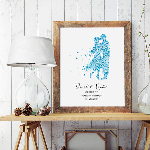 Wedding Blue Hearts Personalised Print