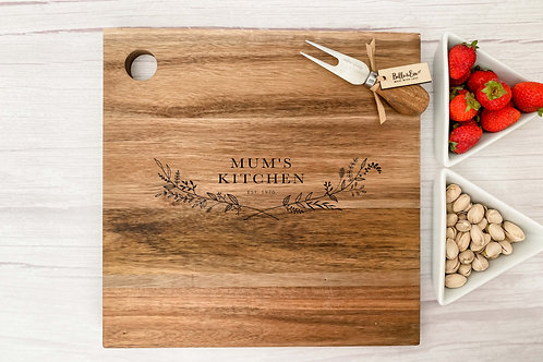 Personalised Cheese Board - Flower Crest