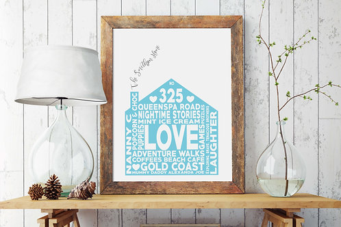 Personalised Family Print, Aqua | Belle & Eve | Customised Prints