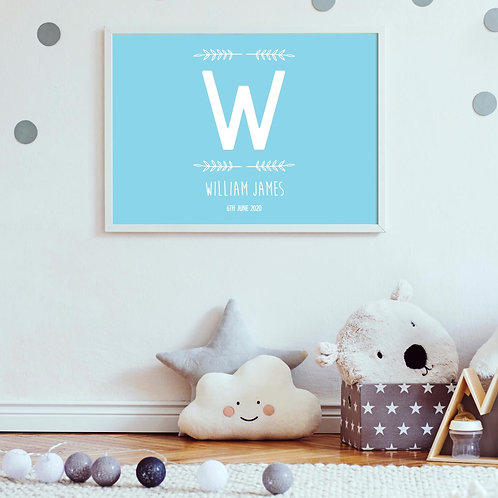 Kids Wall Prints | Belle & Eve | Name Initial Nursery Prints