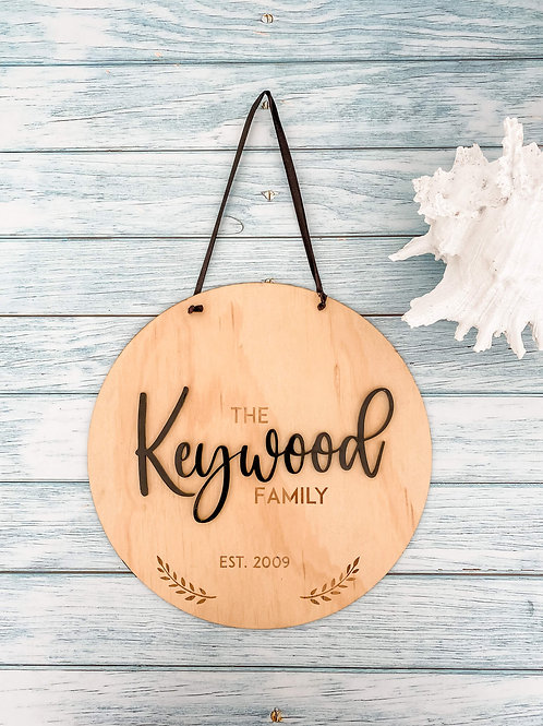 Family Wooden Name Plaque | Belle & Eve | Name Sign