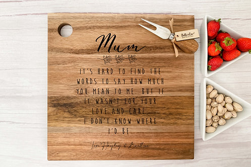 Personalised Mum Gift | Belle & Eve | Personalised Cheese Board for mum