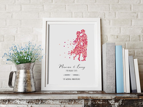 Anniversary Red Hearts Personalised Print