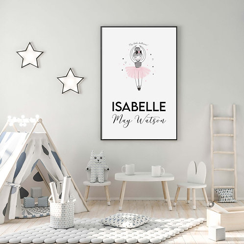 Ballerina Personalised Kids Print