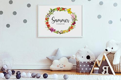 Floral Name Nursery Print | Belle & Eve | Personalised Nursery Prints