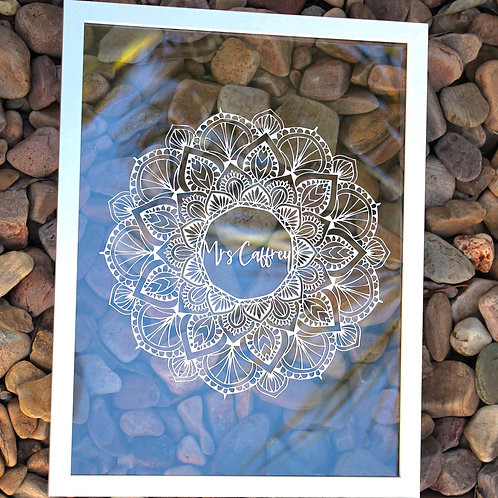 Personalised Teachers Gift | Belle & Eve Gifts | Intricate Mandala for Teachers