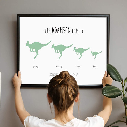 Personalised Family Prints, Kangaroo Green  | Belle & Eve | Personalised Family Gifts