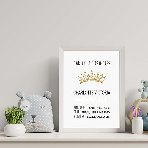 Princess Personalised Birth Print