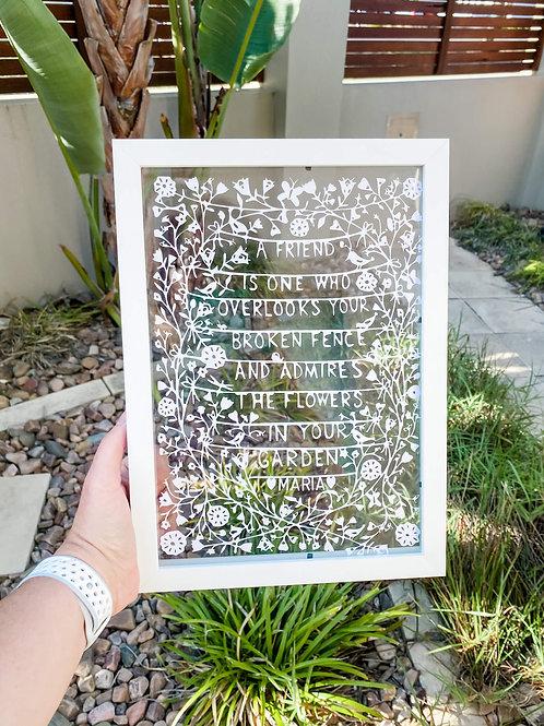 Friend Flowers Personalised Papercut