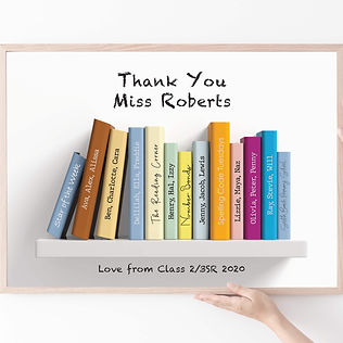 Personalised Teachers Gift Framed books