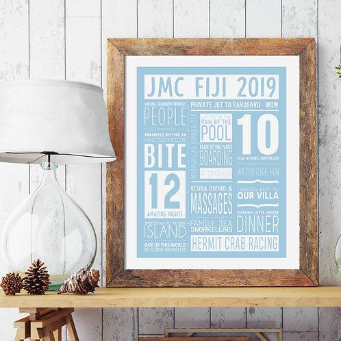Personalised Prints | Belle & Eve | Blue Memories Typographic Personalised Print