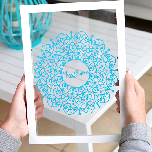 Personalised Teachers Gift | Belle & Eve | Personalised Mandala blue