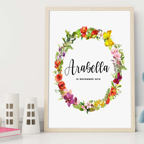 Kids Prints | Belle & Eve | Floral Personalised Kids Print