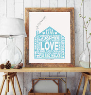 Personalised Family Print _ Blue House T