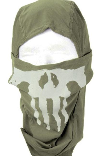 Lancer Tactical Ghost Balaclava, OD Green w/ Skull Design