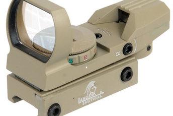 Lancer Tactical Red/Green Dot Reflex Sight, 4 Reticles - Tan