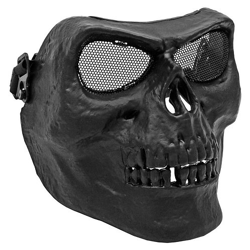 Full Face Skull Mask for Airsoft with Metal Mesh Eyes, Black
