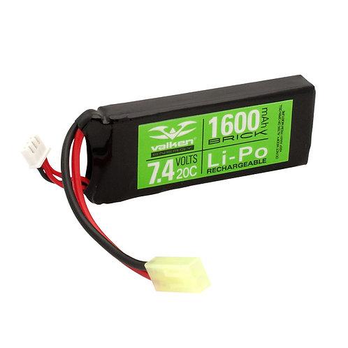 Valken Energy 7.4V 1600 mAh LiPO 20C Battery, Mini Brick